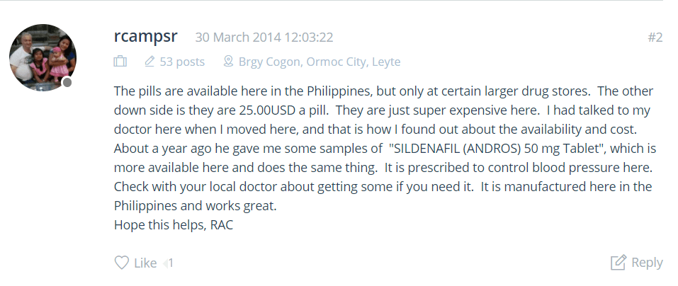 A user of Sildenafil Andros shared that this ED medicine is available in the Philippines but only to its large drug stores